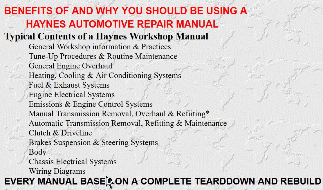 Haynes Service and Repair Manuals are written by automotive engineers and aimed at the practically minded car owners who wish to keep there car in a safe reliable condition and at the same time, reduce running and maintenance costs.