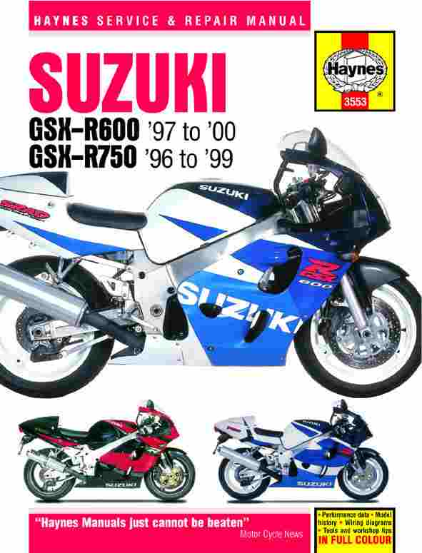 Suzuki GSX-R600 and 750 (96 - 00) Repair Manual 3553