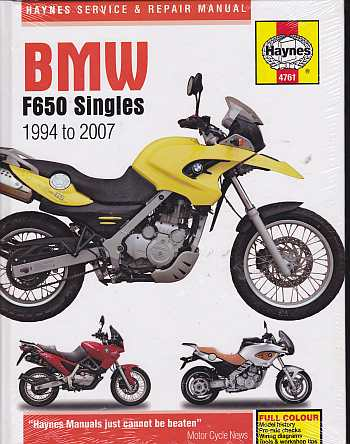 BMW F650 Singles 1994 - 2007 Workshop Manual 4761