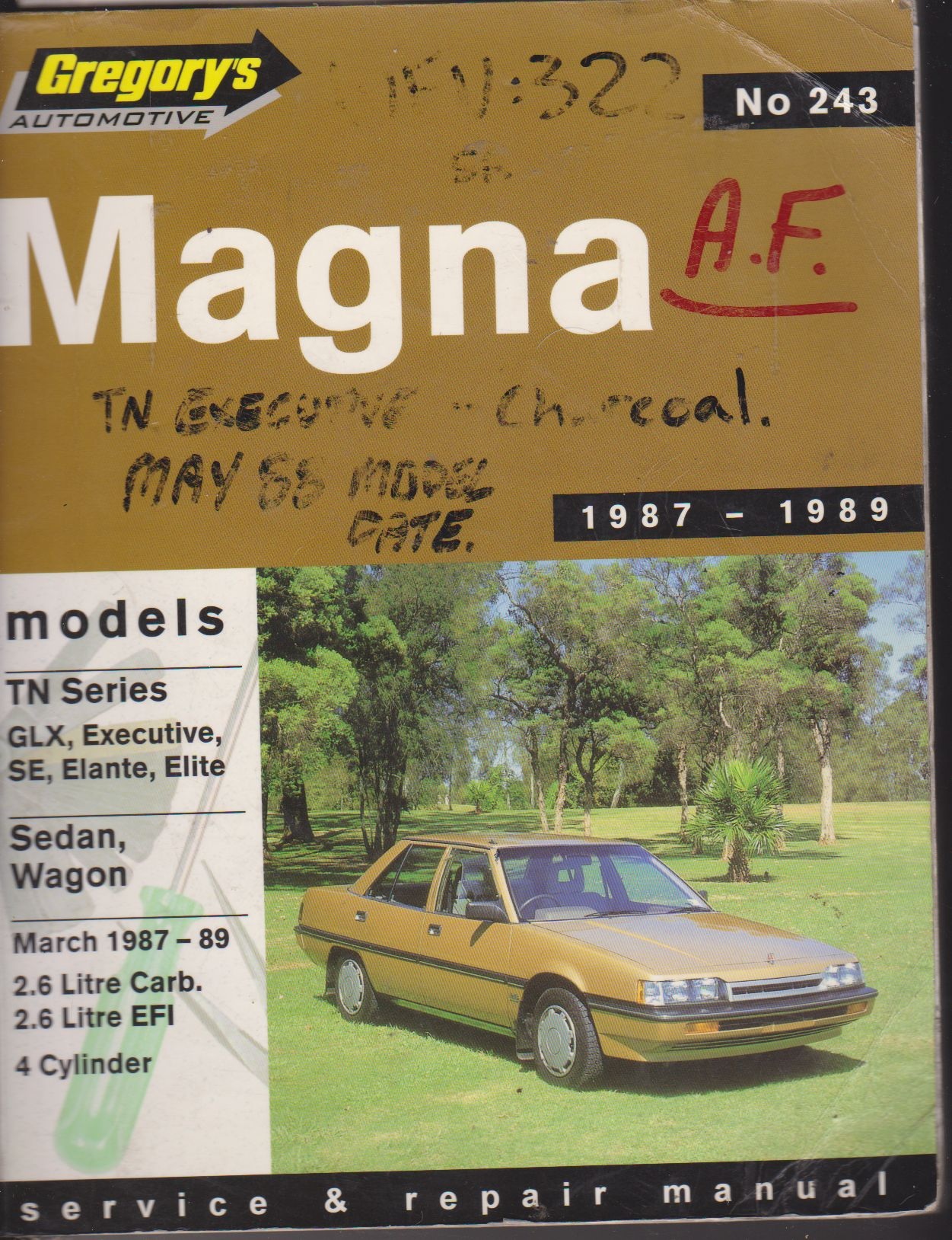 Mitsubishi Magna TN 1987 - 1989 Gregorys Owners Service & Repair