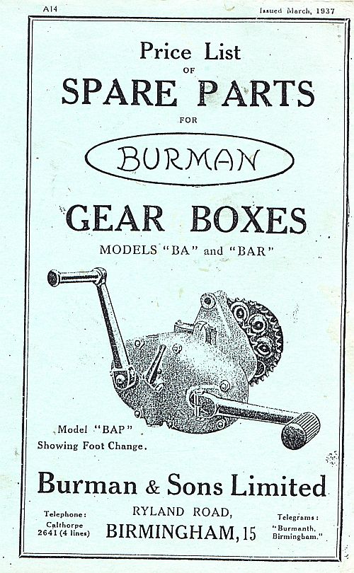 Price List OF SPARE PARTS FOR Burman GEAR BOXES MODELS BA and BA