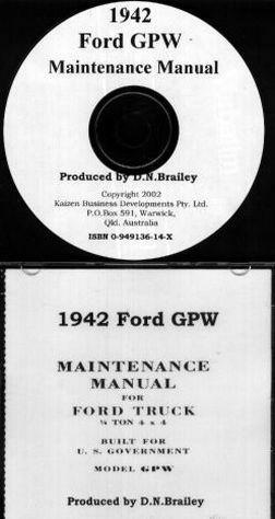1942 Ford GPW (Jeep) Maintenance Manual CD