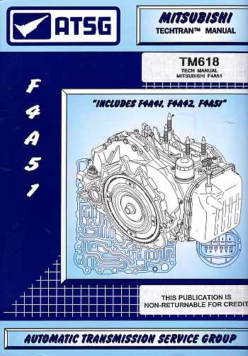 Misubishi F4A51 Automatic Trans Service And Repair Manual by AT