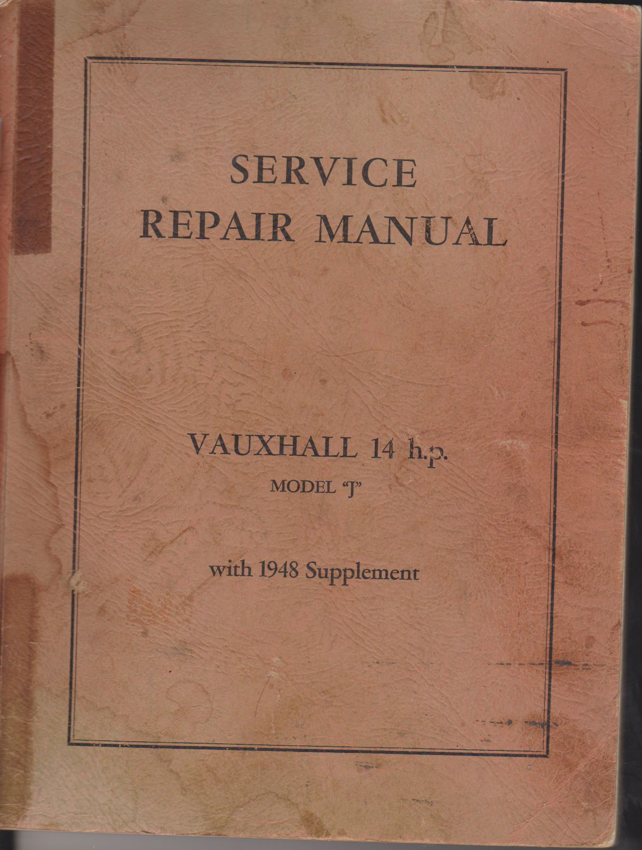 1939 Vauxhall 14 h.p. Model J Repair & Service Manual, with the